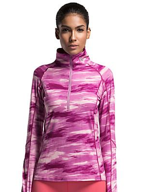 Běh Vrchní část oděvu Dámské Dlouhé rukávy Prodyšné Běh Vansydical Sportovní oblečení Tmavě růžová Çizgi S / M / L / XL