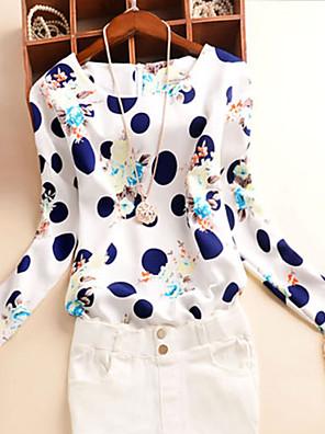 דפוס צווארון עגול פשוטה יום יומי\קז'ואל חולצה נשים,סתיו שרוול ארוך כחול / לבן בינוני (מדיום) פוליאסטר