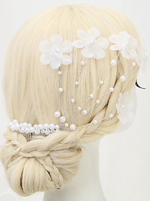 Women's / Flower Girl's Alloy / Imitation Pearl / Polyester Headpiece-Wedding / Special Occasion Hair Combs 1 Piece White Round