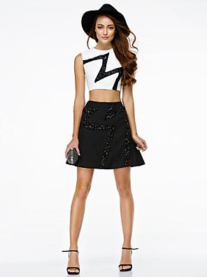 TS couture® 칵테일 파티 / 기업 파티 드레스 - 두 조각 A 라인 장식 조각 보석 짧은 / 미니 쉬폰