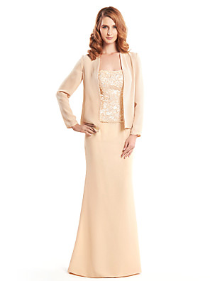 Trumpet / Mermaid Mother of the Bride Dress Floor-length Long Sleeve Chiffon with Lace