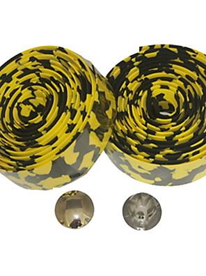 Estrada da bicicleta fixa da engrenagem Single Speed Guiador Tape Bar Enrole Leopard (Yellow Black, 2pcs)