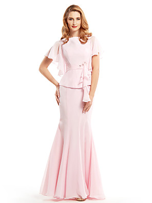 Trumpet / Mermaid Mother of the Bride Dress Floor-length Short Sleeve Chiffon with Beading