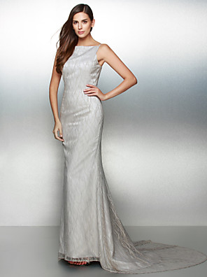 TS Couture® Formal Evening Dress Trumpet / Mermaid Bateau Court Train Lace with Lace