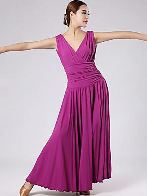 Standardní tance Šaty Dámské Výkon Čínský nylon Nařasený Jeden díl Šaty Dress length M:131cm / L:132cm / XL:133cm / XXL:134cm