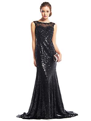 ts couture® חצוצרה שמלת ערב רשמית / לטאטא הסקופ mermaid / מברשת רכבת פאייטים עם פאייטים