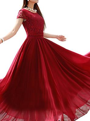 Damen Kleid-Übergrößen Retro Solide Maxi Polyester Rundhalsausschnitt