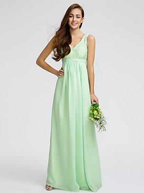 Lanting Bride® Longo Chiffon / Renda Vestido de Madrinha - Tubinho Decote V com Renda / Faixa / Fita