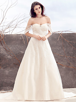 lanting이 줄을 신부 웨딩 드레스 - 청소 / 브러쉬 기차 오프 - 더 - 어깨 얇은 명주 그물