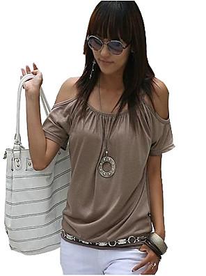 Vrouwen Eenvoudig / Street chic Zomer T-shirt,Casual/Dagelijks Effen Bandje / Schouderafhangend Korte mouwRoze / Rood / Wit / Beige /