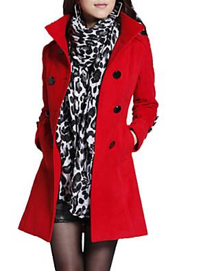 אחיד עומד וינטאג' מעיל נשים,אדום / שחור / כתום / צהוב שרוול ארוך חורף עבה צמר / כותנה / אחרים