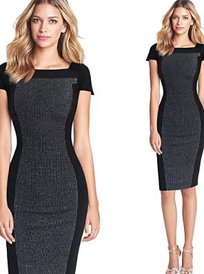 פוליאסטר עד הברך צווארון מרובע קולור בלוק שמלה צינור מסיבה / עבודה נשים