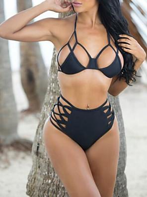 Kvinders Polyester Halterneck Ensfarvet / Skåret ud Bikini Push-up