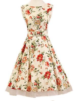 Women's Halter 50s Vintage Flower Print Rockabilly Sleeveless Dress(Not Include Petticoat)