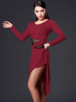 ריקוד לטיני שמלות בגדי ריקוד נשים ביצועים ספנדקס / פוליאסטר עטוף 2 חלקים שורטים / שמלות Dress M:88-107 / L:89-108 / XL:90-109 / XXL:91-110