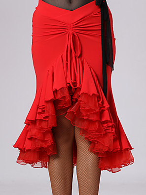 Latinské tance tutu a sukně Dámské Výkon Viskóza Nařasený Jeden díl Přírodní Sukně Skirt: M:66cm L:68cm XL:70cm