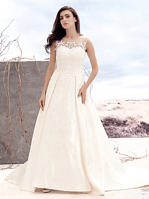 Lanting Bride® A-line Wedding Dress Court Train Scoop Satin / Tulle with Appliques / Button