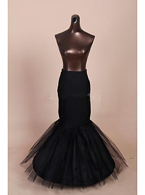 תחתונית  בת ים וסליפ שמלת חצוצרה אורך עד לרצפה 3 רשתות בד טול / פוליאסטר שחור