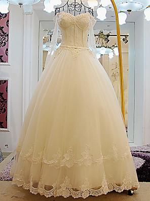 A-라인 웨딩 드레스 바닥 길이 오프 더 숄더 레이스 / 튤 와 비즈 / 레이스