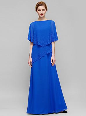 Lanting Bride® מעטפת \ עמוד שמלה לאם הכלה  עד הריצפה ללא שרוולים שיפון - חרוזים