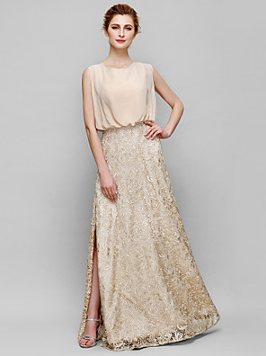 Sheath / Column Mother of the Bride Dress Floor-length Sleeveless Chiffon / Lace with Lace