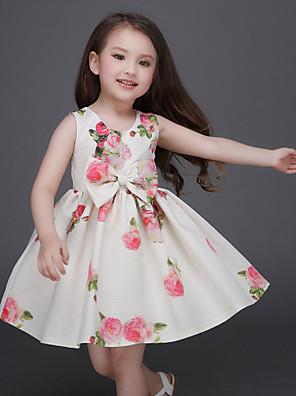 Girl's Beige Dress , Floral / Bow / Dresswear Polyester Summer