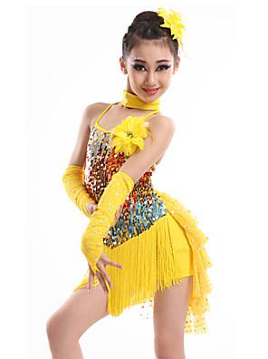 Dança Latina Vestidos Crianças Actuação Elastano / Lantejoulas / Fibra de Leite Borla(s) 4 Peças Luvas / Vestidos / NeckwearDress length