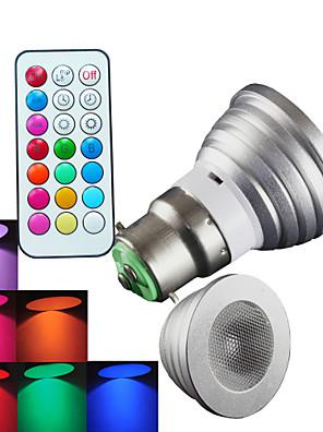 4W B22 Spot LED MR16 1 LED Haute Puissance 300 lm RGB Gradable / Commandée à Distance / Décorative AC 100-240 V 1 pièce