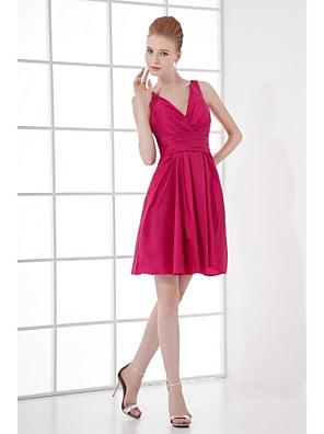 Lanting Bride® Curto/Mini Tafetá Vestido de Madrinha - Linha A Decote V com Drapeado Lateral