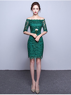 Cocktail Party Dress A-line Bateau Knee-length Lace with Lace