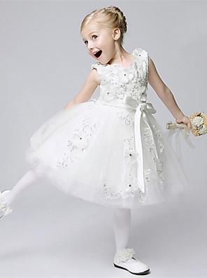 Linea-A Lunghezza tè Abito da damigella d'onore bambina - Tulle Senza maniche Con decorazione gioiello con
