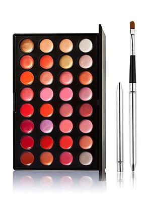 32 Gloss Labial + Pincéis de Maquiagem Molhado LábiosGloss com Purpurina Brilhante / Gloss Colorido / Longa Duração / Natural /