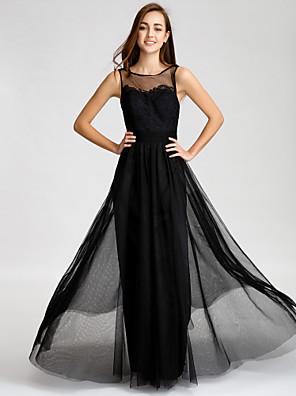 바닥 길이 튤 신부 들러리 드레스 A-라인 보트넥 와 레이스 / 허리끈/리본