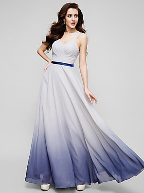 TS Couture® Formal Evening Dress - Color Gradient A-line Straps Floor-length Chiffon with Criss Cross