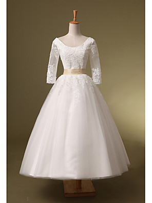Ball Gown Wedding Dress Tea-length Scoop Organza with Appliques