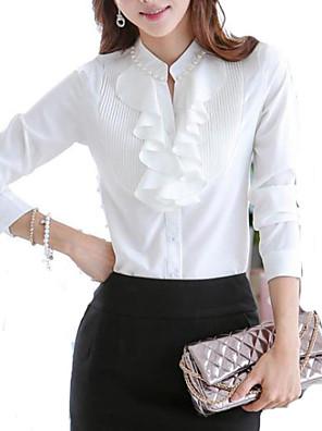 Women's Solid OL Office Lady  Long Sleeve Shirt