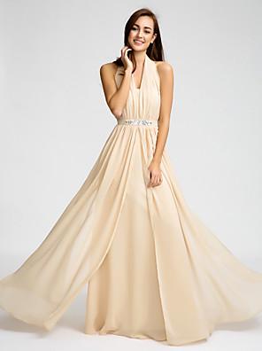 Lanting Bride® Longo Chiffon Vestido de Madrinha Tubinho Nadador com Miçangas / Detalhes em Cristal / Faixa / Fita
