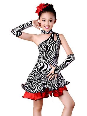 ריקוד לטיני תלבושות בגדי ריקוד ילדים ביצועים ספנדקס / מילק פייבר קפלים 4 חלקים Neckwear / שרוולים / שמלותDress length S(110):57cm /