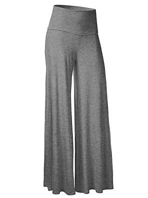 Mulheres Calças Simples Perna larga Acrílico / Poliéster Sem Elasticidade Mulheres