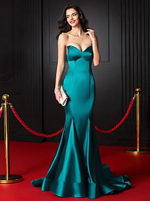 ts couture® vestido de noite formal trompete / namorada tribunal sereia cetim stretch trem