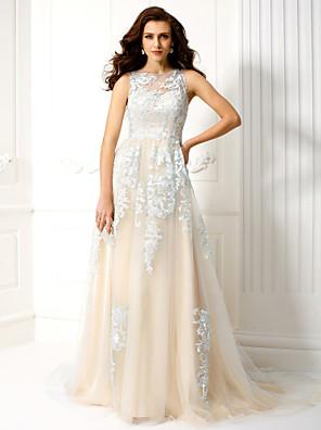 공식적인 저녁 couture® TS는 아플리케와 온라인 BATEAU 법원 기차 얇은 명주 그물 드레스