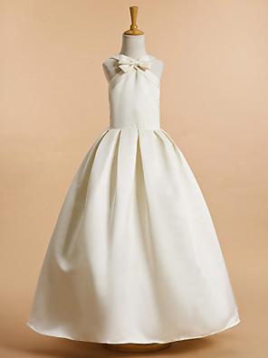 Lanting Bride A-Linie Po kotníky Šaty pro květinovou družičku - Satén Bez rukávů Do V s Mašle