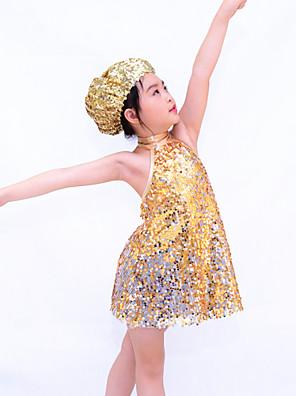 ג'אז תלבושות בגדי ריקוד ילדים ביצועים ספנדקס / פוליאסטר / נצנצים נצנצים 3 חלקים בלי שרוולים טבעי אביזרים לשיער / שורטים / שמלותAs the