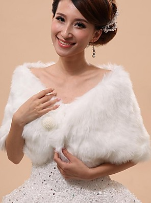 Fur Vests / Hoods & Ponchos / Wedding  Wraps Capelets Sleeveless Faux Fur White Wedding / Party/Evening Off-the-shoulder Button / Draped