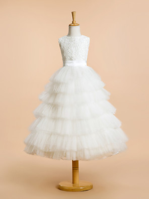גזרת A באורך הקרסול שמלה לנערת הפרחים - תחרה / טול ללא שרוולים עם תכשיטים עם תחרה / שכבות