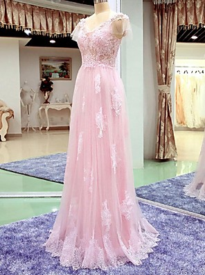 A-line Cap Sleeves Wedding Dress-Blushing Pink Floor-length V-neck Lace / Tulle