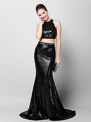 TS Couture® Formal Evening Dress - Two Pieces Trumpet / Mermaid Jewel Court Train Sequined with Sequins