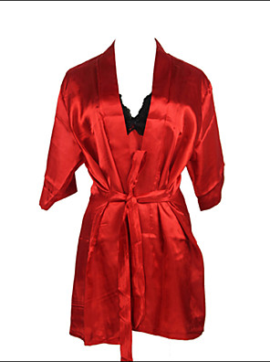 Burvogue Women's Sexy Lace Intimate Lingerie Sleepwear Satin Charmeuse Robe