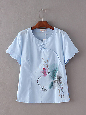 Women's Casual/Daily Vintage Summer Blouse,Floral Round Neck Short Sleeve Blue / White Cotton / Linen Thin