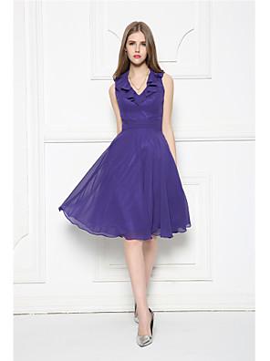 Knee-length Chiffon Bridesmaid Dress A-line V-neck with Ruffles / Sash / Ribbon / Side Draping